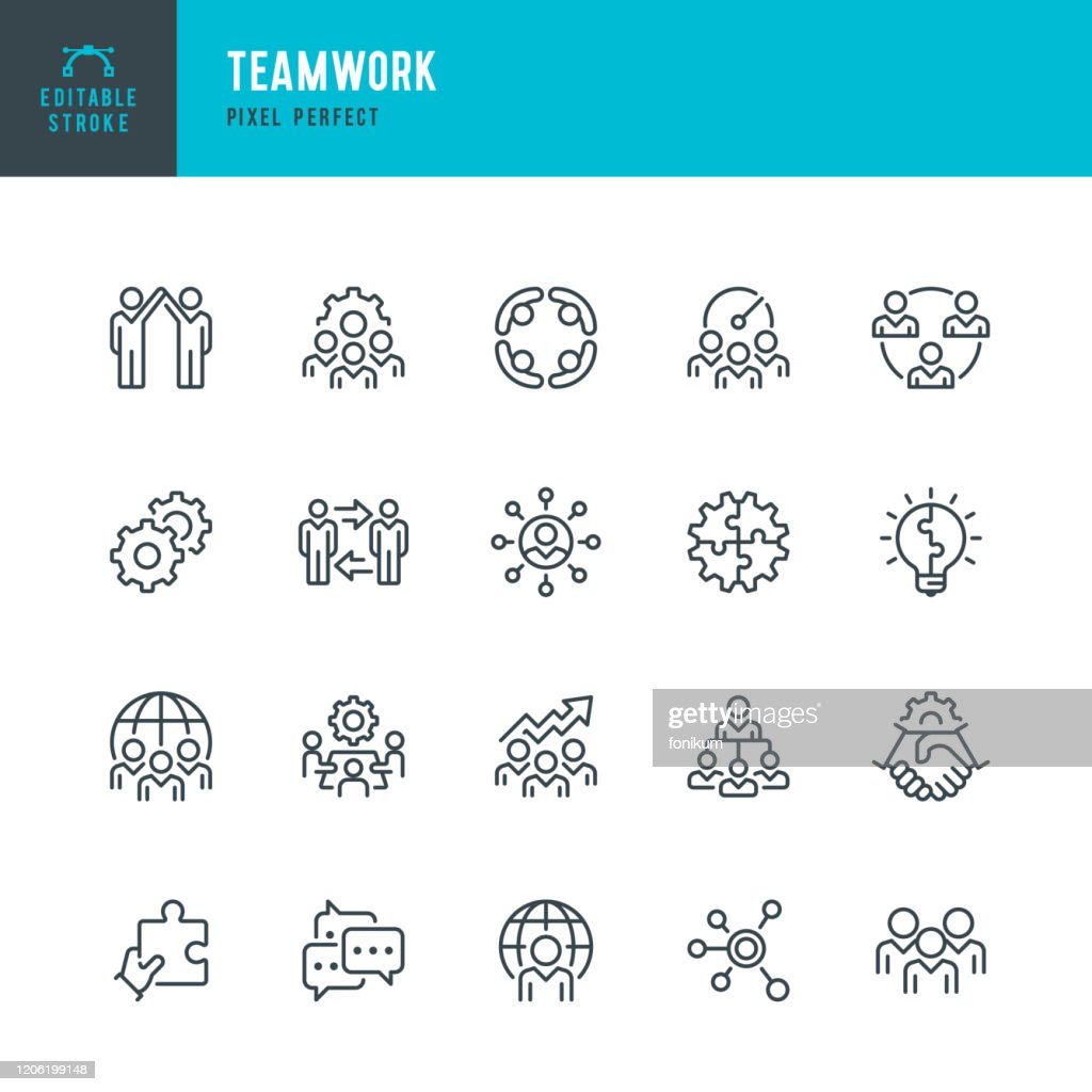 Teamwork - thin line vector icon set. Pixel perfect. Editable stroke. The set contains icons: Teamwork, Partnership, Cooperation, Group Of People, Corporate Business, Community, Brainstorming, Employee, Idea. : Stock Illustration