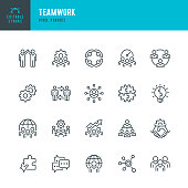 Teamwork - thin line vector icon set. Pixel perfect. Editable stroke. The set contains icons: Teamwork, Partnership, Cooperation, Group Of People, Corporate Business, Community, Brainstorming, Employee, Idea.