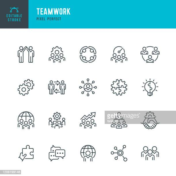 stockillustraties, clipart, cartoons en iconen met teamwork - dunne lijn vector pictogram set. pixel perfect. bewerkbare lijn. de set bevat iconen: teamwork, partnership, cooperation, group of people, corporate business, community, brainstorming, employee, idea. - idee