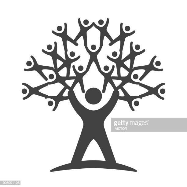 teamwork tree - illustration - family tree stock illustrations, clip art, cartoons, & icons
