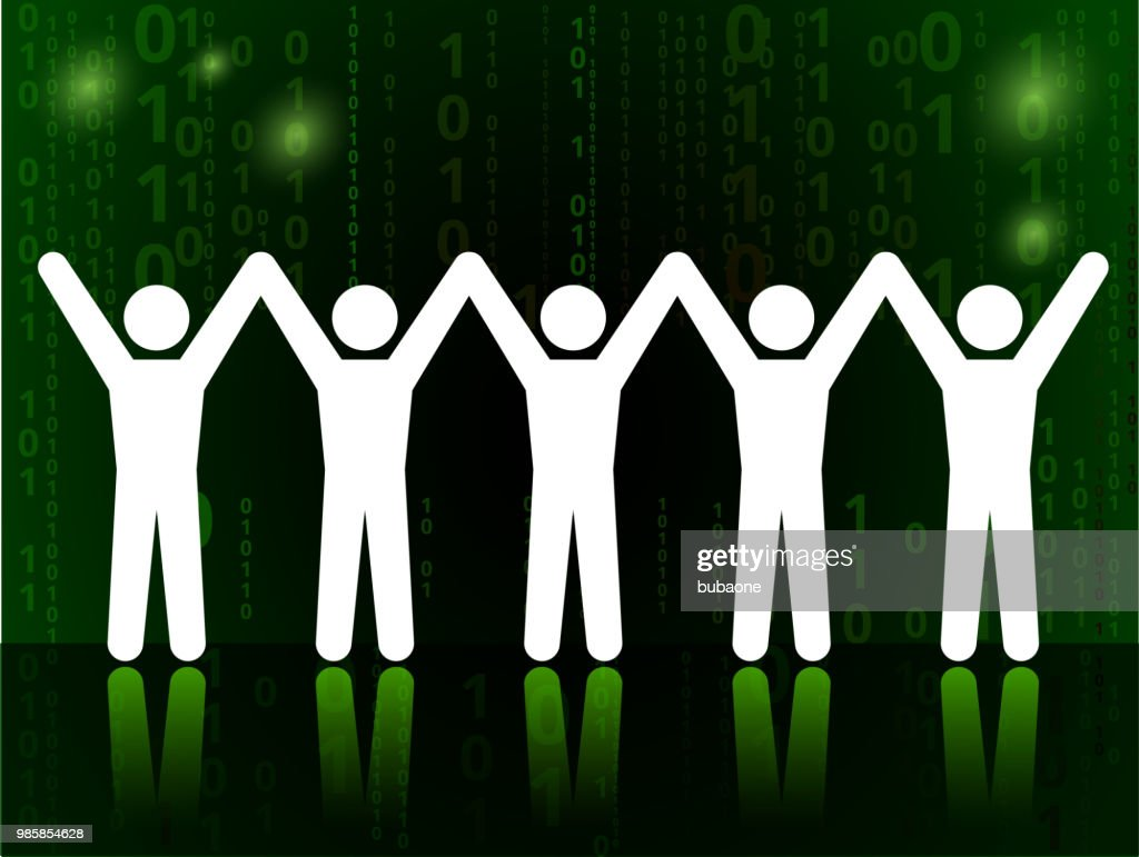 Teamwork Unity And Success On Binary Code Black Background