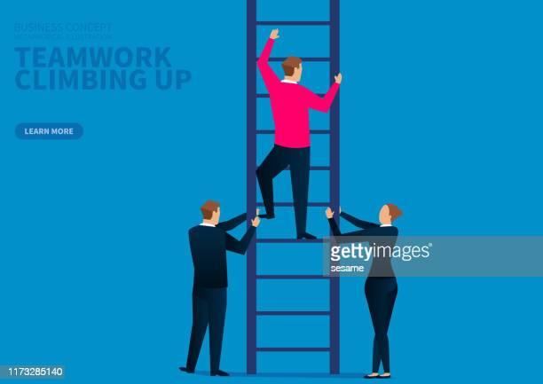teamwork upward climb, team development - ladder of success stock illustrations