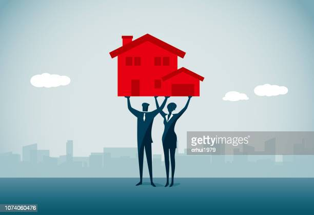 teamwork - housing development stock illustrations