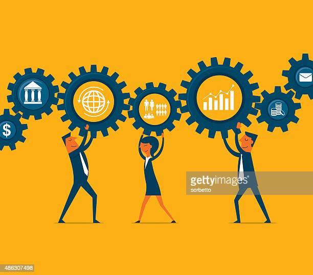 teamwork - bank financial building stock illustrations, clip art, cartoons, & icons