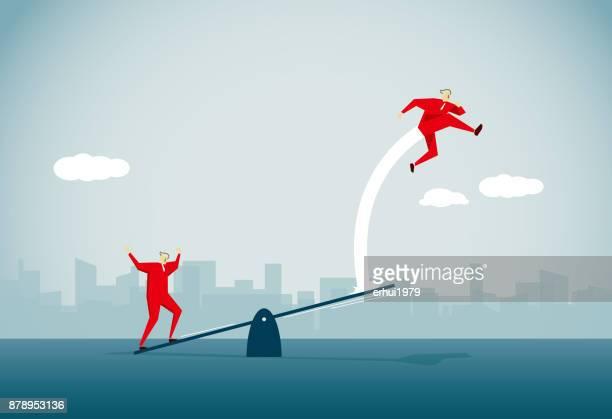 teamwork - high jump stock illustrations