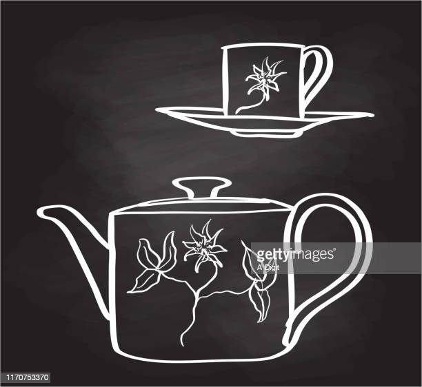 teapot and cup blackboard - kitchenware department stock illustrations, clip art, cartoons, & icons