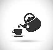 Teapot and cup icon vector illustration