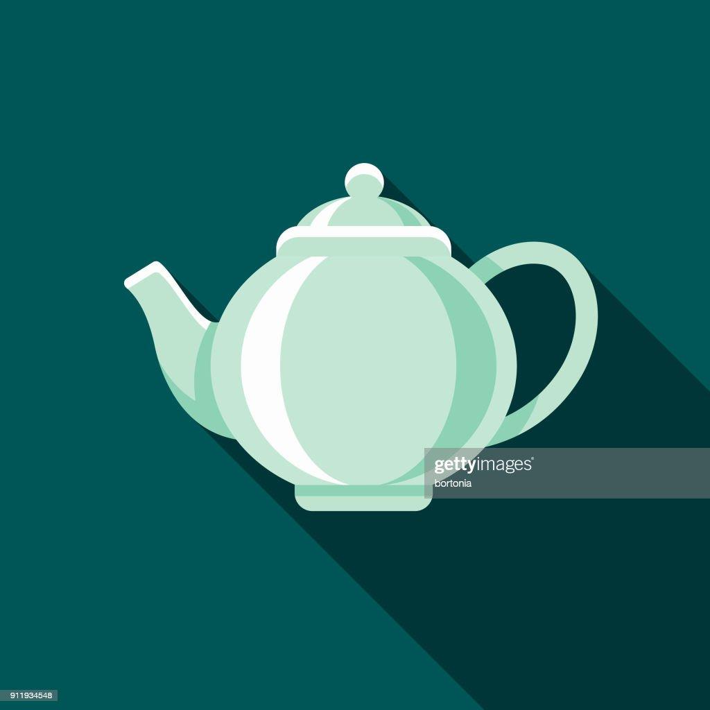 Teapot Flat Design Coffee & Tea Icon : stock illustration