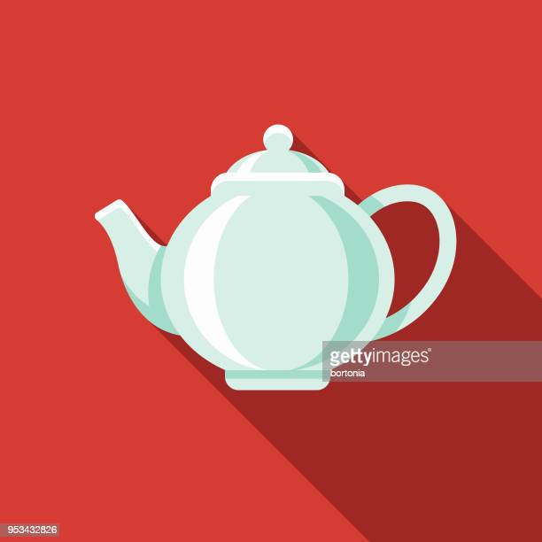 Teapot Flat Design India Icon with Side Shadow