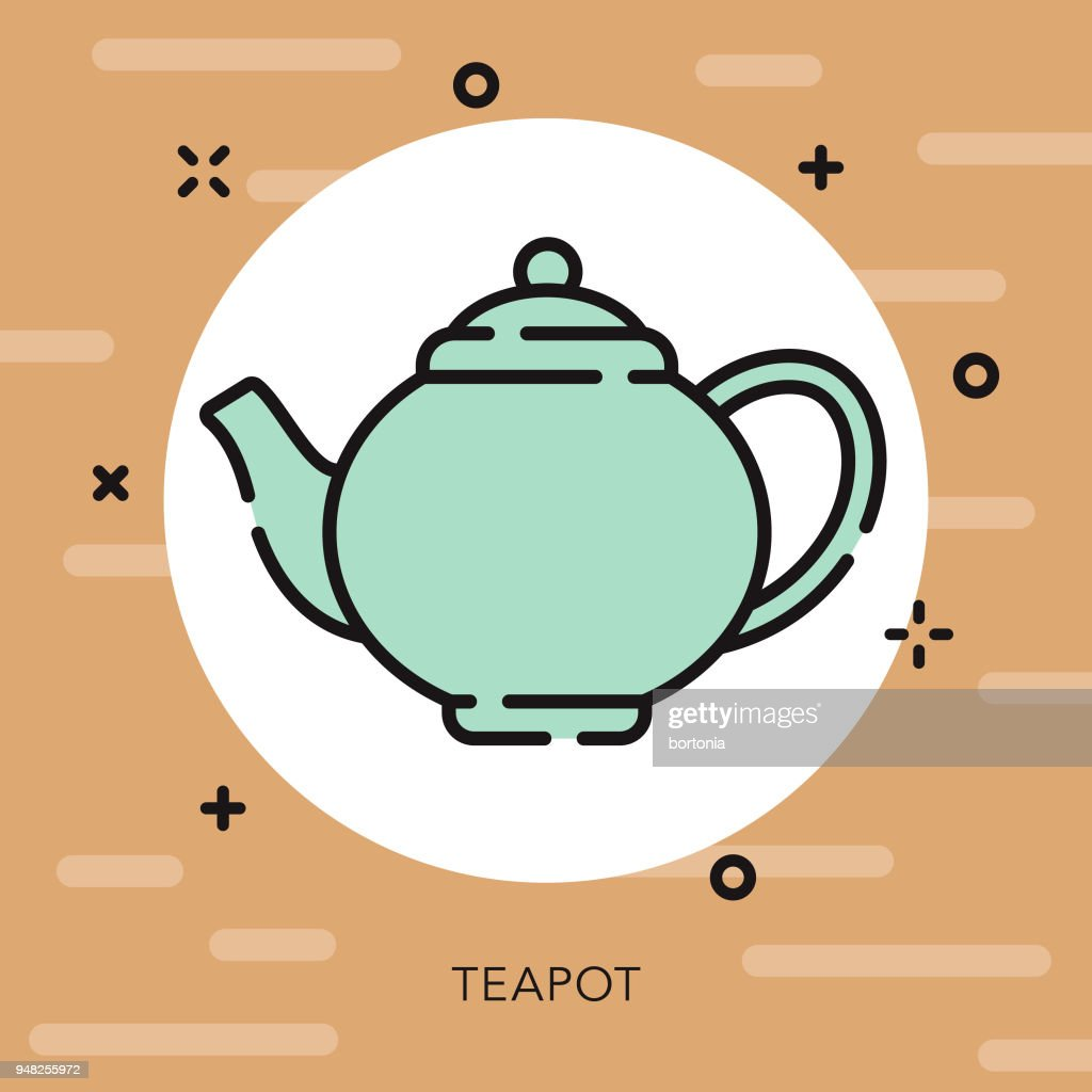 Teapot Open Outline Coffee & Tea Icon : stock illustration