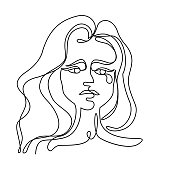 Tearing Woman One Line Art Portrait. Unhappy Female Facial Expression. Hand Drawn Linear Woman Silhouette. Vector illustration