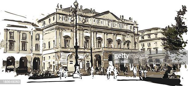 teartro la scala - milan stock illustrations, clip art, cartoons, & icons