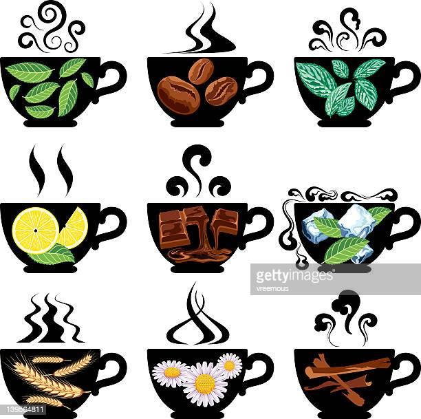 ilustraciones, imágenes clip art, dibujos animados e iconos de stock de de tés, cafés y bebidas similares. - manzanilla