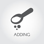 Teaspoon or tablespoon with abstract ingredient. Adding product for preparing food. Graphic image. Icon in flat style