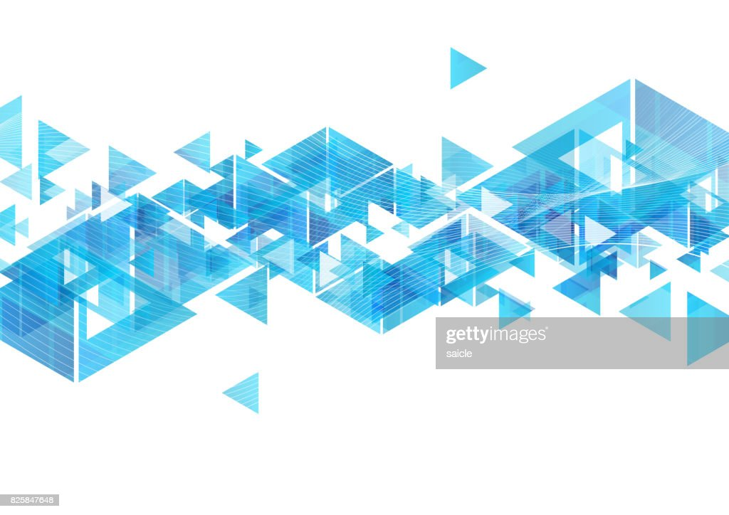 Tech blue triangles and waves abstract background
