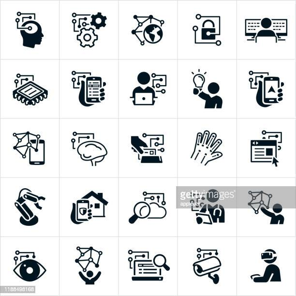 tech industry icons - machine learning stock illustrations