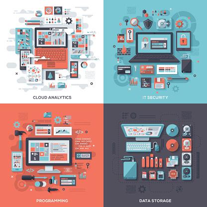 Tech & IT Security Flat Design Concepts - gettyimageskorea