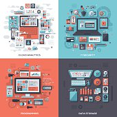 Tech & IT Security Flat Design Concepts
