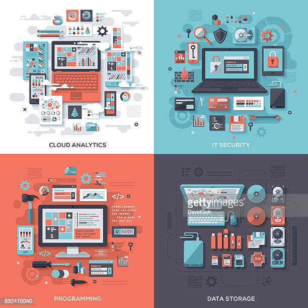 tech & it security flat design concepts - computer part stock illustrations