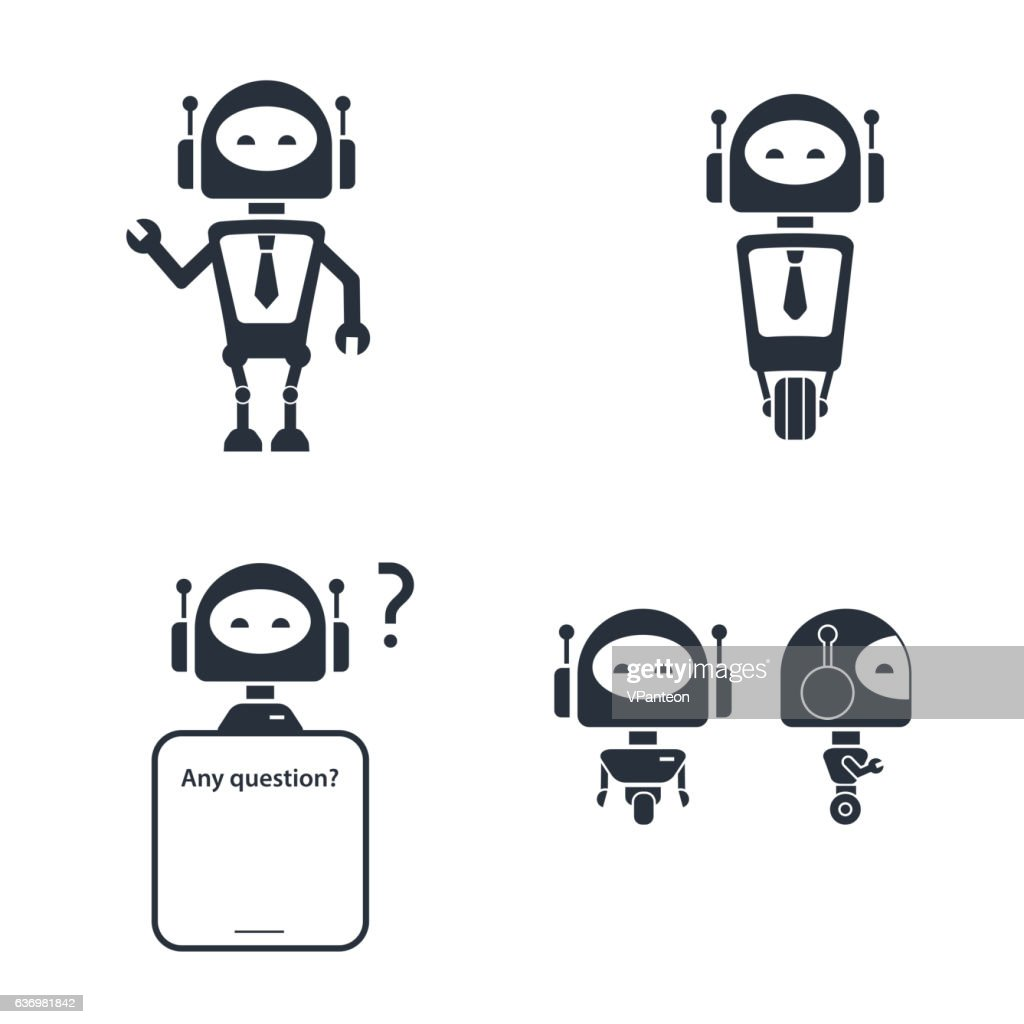 Tech robot online customer service icon