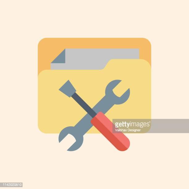 ilustraciones, imágenes clip art, dibujos animados e iconos de stock de servicio técnico, servicio al cliente-ilustración - caja de herramientas