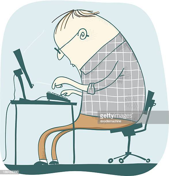 techie stan, computer man - surfing the net stock illustrations