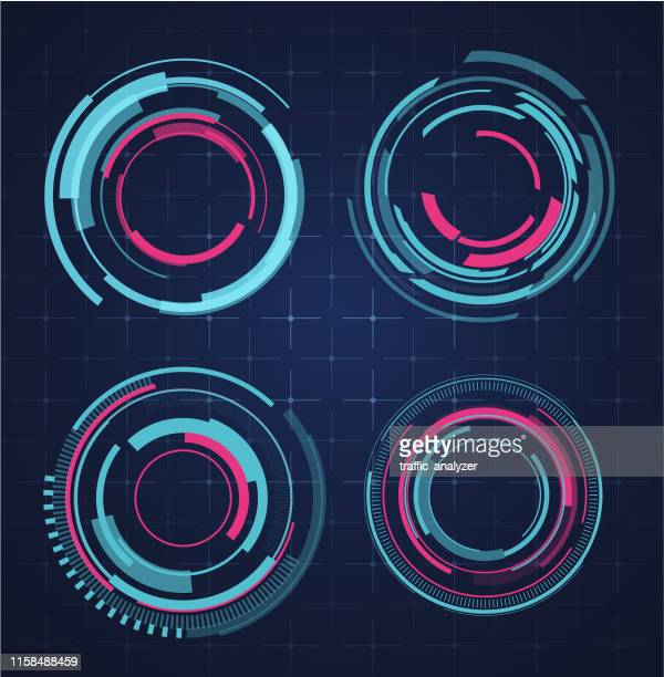 hud - technical background - circle stock illustrations