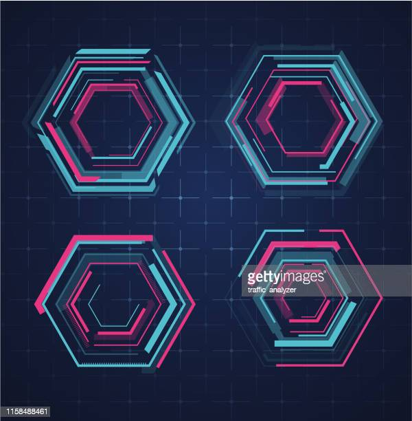 hud - technical background - hexagon stock illustrations