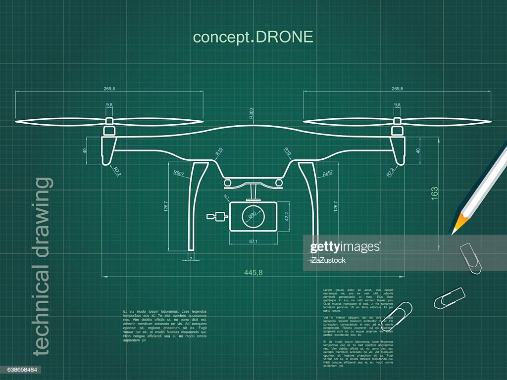 Technical Drawing Drone With Green Paper Background Stock ... on