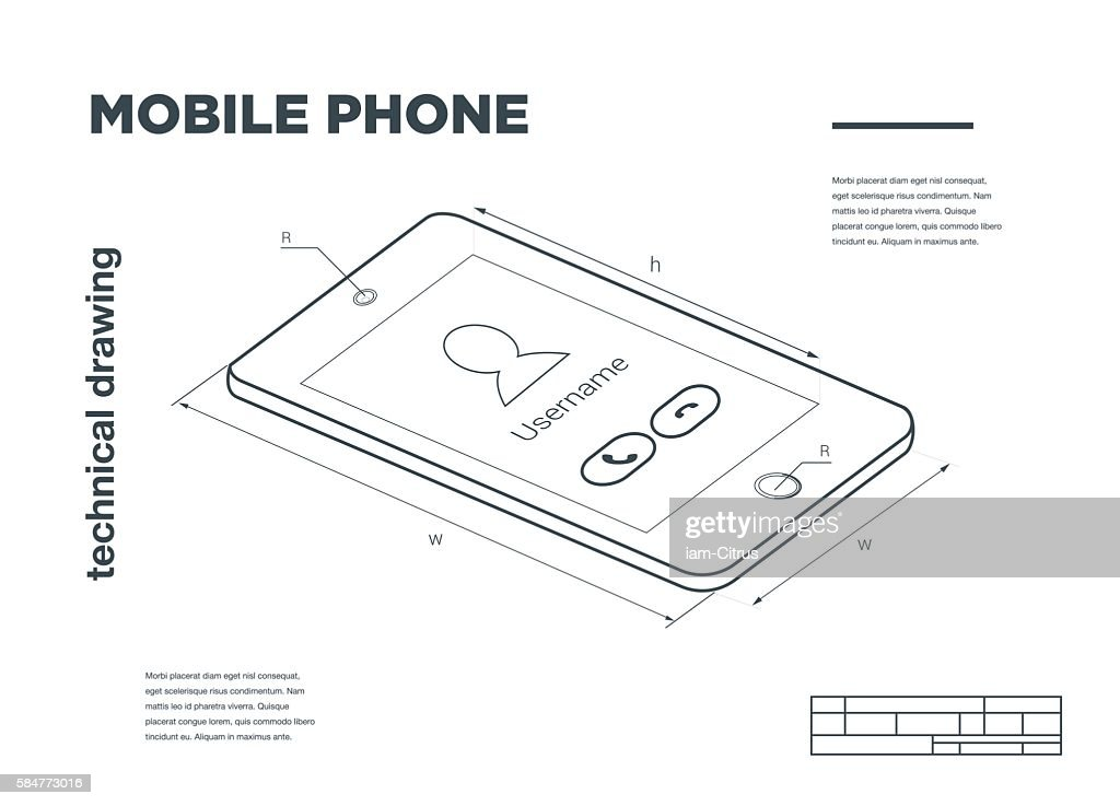 Technical Illustration with mobile phone drawing on the white background