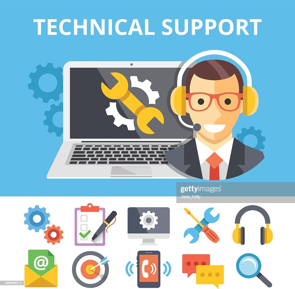 Technical support flat illustration and flat technical support icons set
