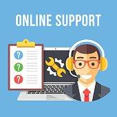 Technical support. Modern flat design vector illustration