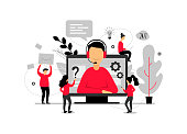 Technical support online, operator is talking to the client, 24h customer service for web page, hotline support, virtual help service - vector illustration