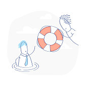 Technical Support operator with lifebuoy - Vector Illustration