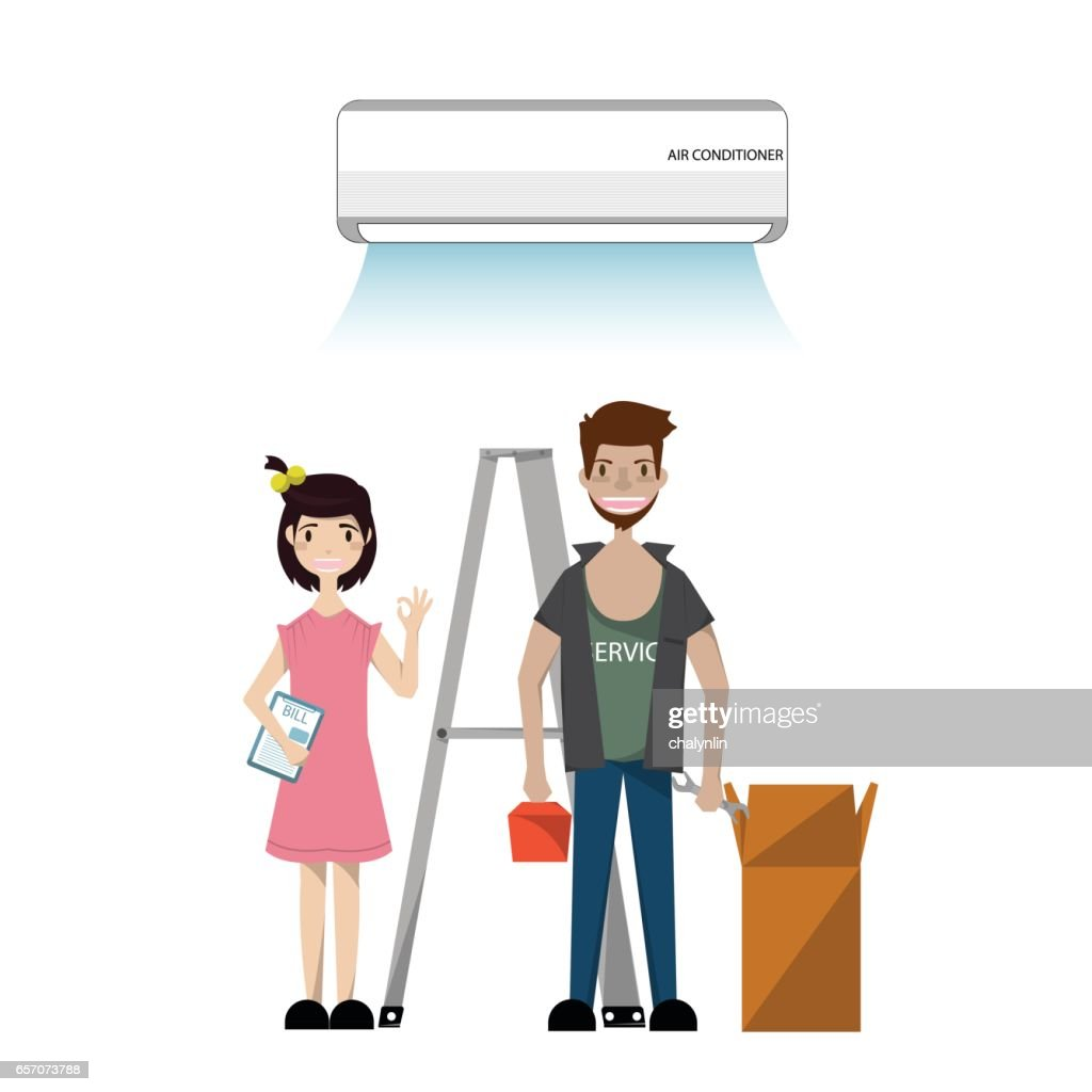 Technician Installing electronics. Air conditioner unit repair and installing. Vector/Illustration