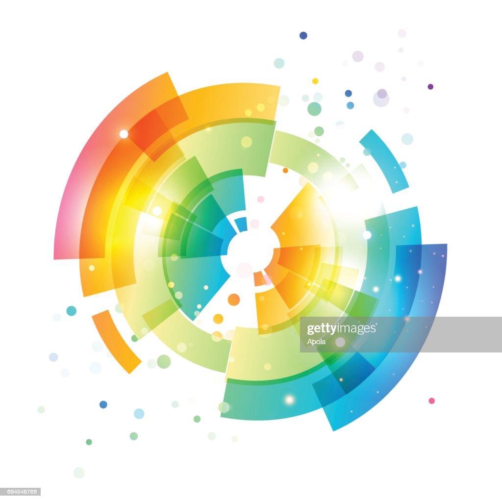 Techno geometric vector circle on white