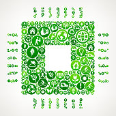 Technolgoy Chip Nature and Environmental Conservation Icon Pattern