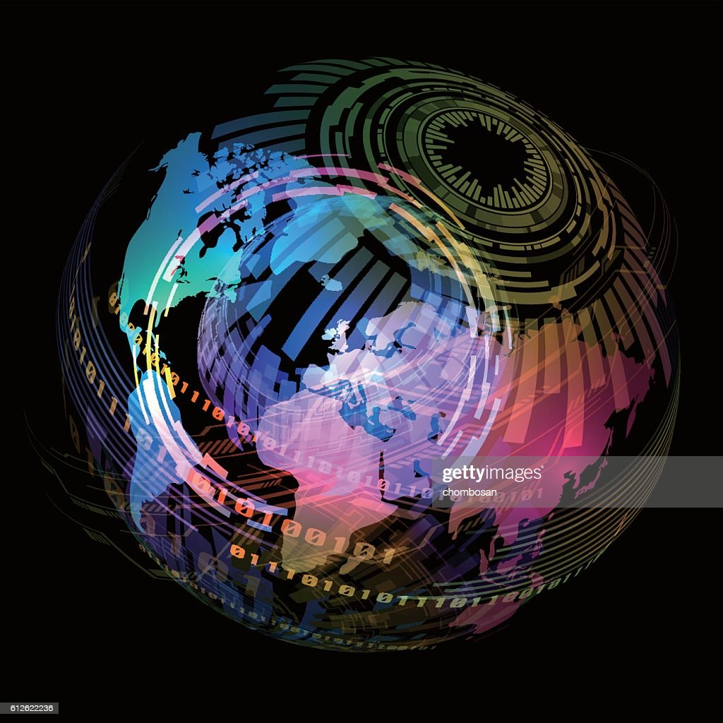 technological concept and world map, abstract image visual