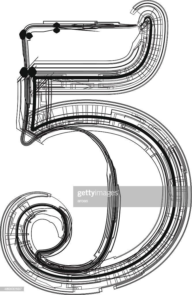 technological font. Number 5 : Vector Art