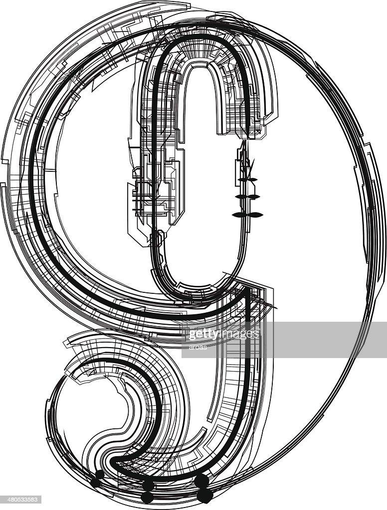 technological font. Number 9 : Vector Art
