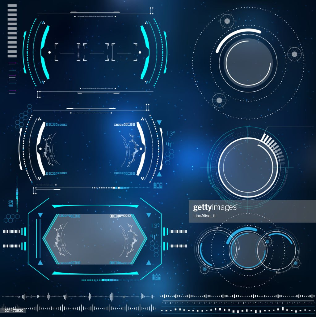 technological HUD elements, futuristic interface virtual reality