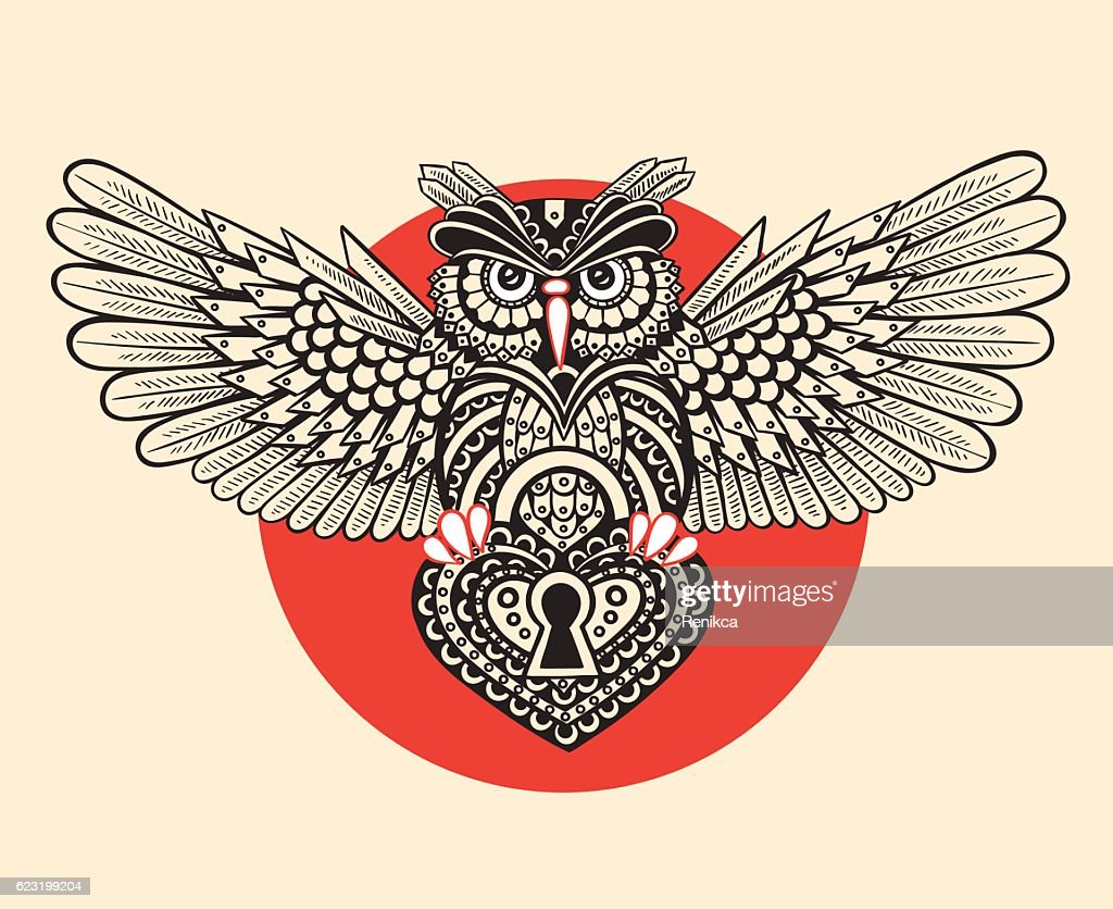 Technological owl with spread wings with a keyhole