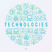 Technologies concept in circle with thin line icons of: electric car, rocket, robotics, solar battery, machine intelligence, web development. Vector illustration for banner, web page, print media.