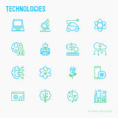 Technologies thin line icons set: electric car, rocket, robotics, solar battery, machine intelligence, web development. Vector illustration.