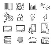 Technology and business outline vector icons