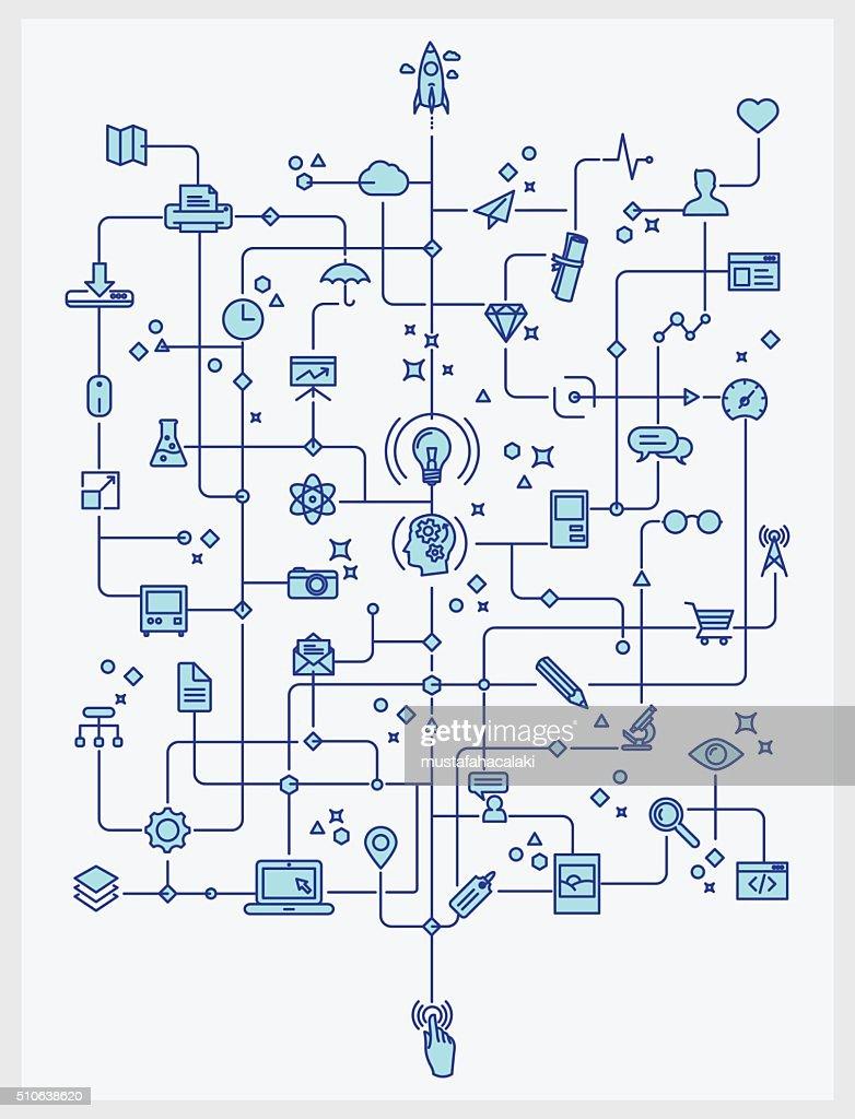 Technology and creativity process theme lineart
