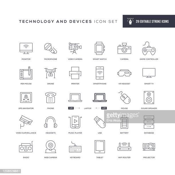 テクノロジーとデバイス編集可能ストロークラインアイコン - コンピュータカメラ点のイラスト素材/クリップアート素材/マンガ素材/アイコン素材