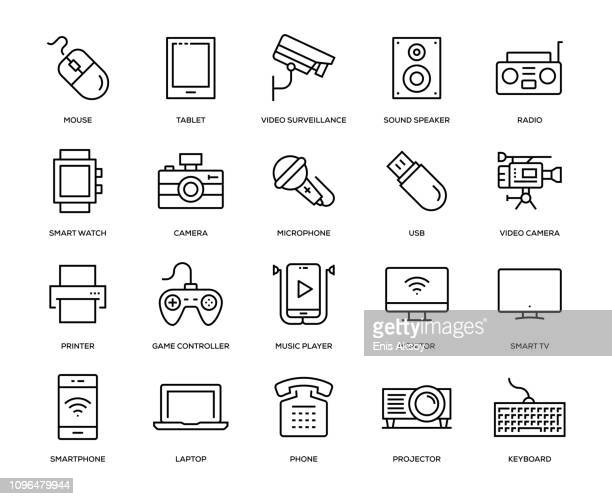 technology and devices icon set - video camera stock illustrations, clip art, cartoons, & icons