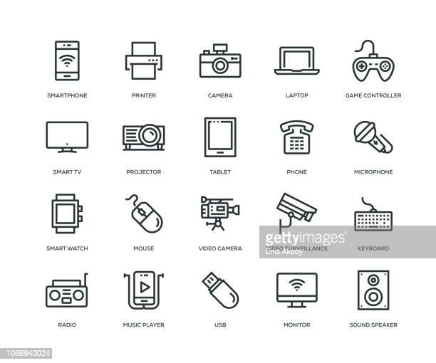 technology and devices icons - line series - radio stock illustrations