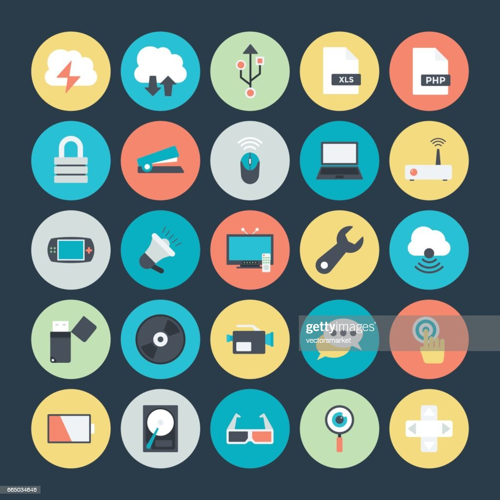 Technology and Hardware Colored Vector Icons 4